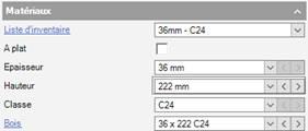 Texte de remplacement généré par une machine: Matéria ux  Liste d'inventaire  A plat  Epaisseur  Classe  Bois  3E x 222C24