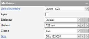 Texte de remplacement généré par une machine: Matéria ux  Liste d'inventaire  A plat  Epaisseur  Classe  Bois  122 mm  3E x 122 C24