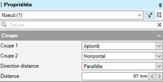 Texte de remplacement généré par une machine: Noeud (I)  Coupe I  Coupe 2  Direction distance  Distance  Aplomb  Parallèle  97 mm