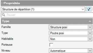 Texte de remplacement généré par une machine: : Propriétés  Ty pe  zmllle  Type  Habitable  Niveau  Structure cos i  Poutre posi  Automatique