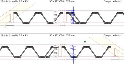 Texte de remplacement généré par une machine: Pointe torsadée 2 8 x 75  Pointe torsadée 2 8 x 75  36 x 122 C24  - 370 mm  2 nb.  24  2 nb.  36x 122 C24 -  370 mm  2 nb  122  Calque de bois -1  Calque de bois -1
