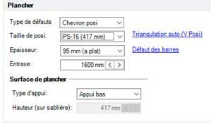 Texte de remplacement généré par une machine: Type de défauts  Taille de posi  Epaisseur  Chevron posi  (417 mm)  95 mm (z plat)  600 mm (  rizmaulztion zuto (V Posn  Défaut des barres  Surface de  Appui bas  auteur (sur sablière)
