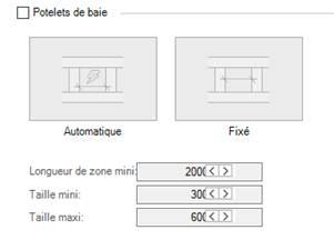 Texte de remplacement généré par une machine: Potelets de baie  Automatique  Longueur de zone mini  Taille mini  Taille maxi :  Fixé