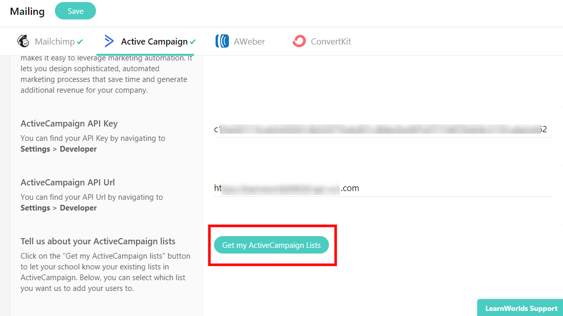 How to activate the Active Campaign integration in your