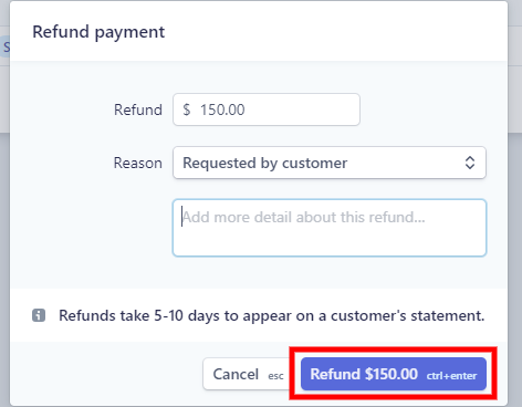 How to refund a payment through Stripe or Paypal Dashboard