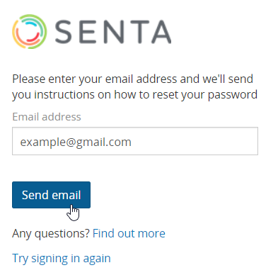 Resetting the password for users and clients : Senta