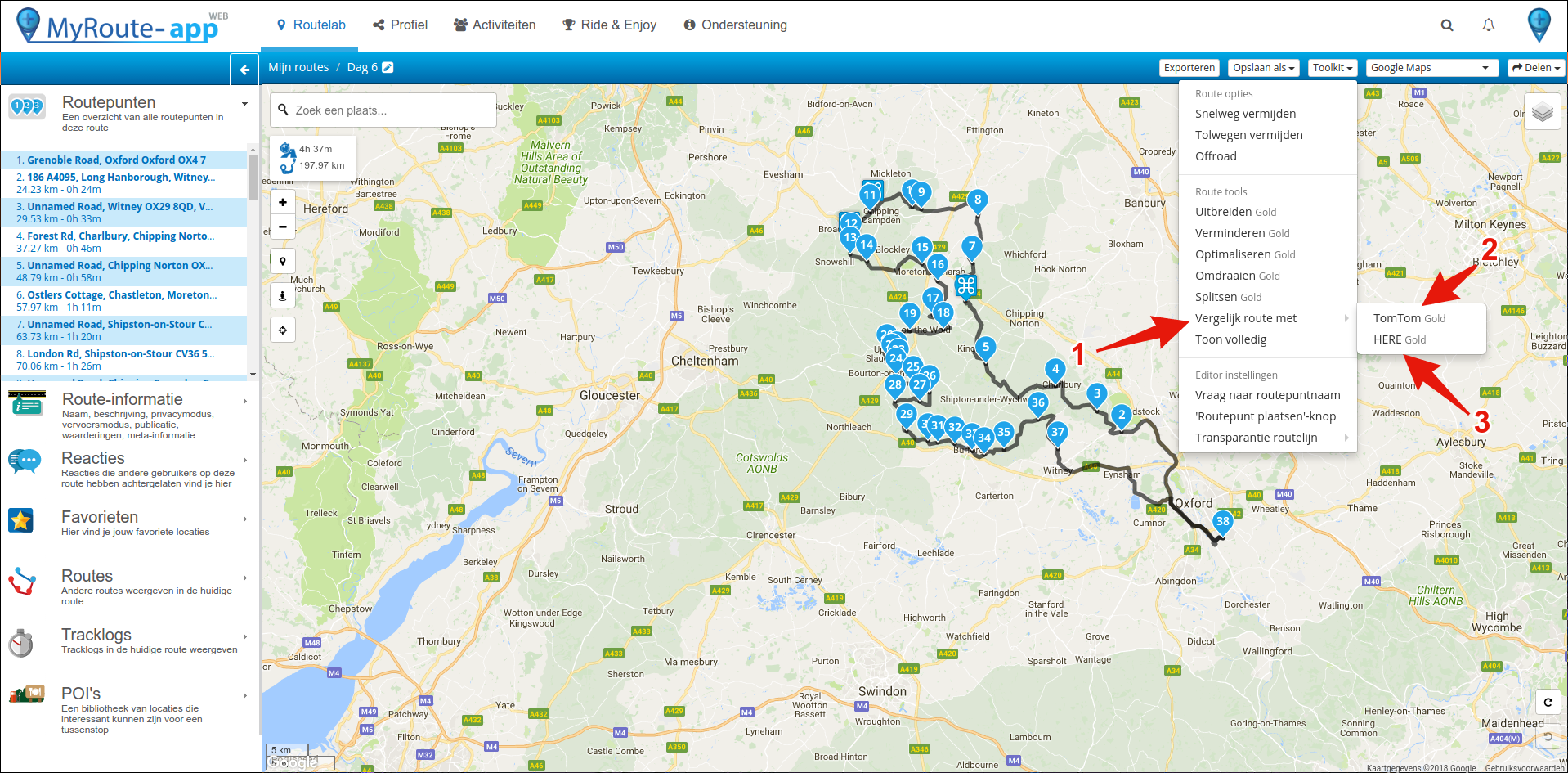 Tips & Tricks web application: Compare route calculations
