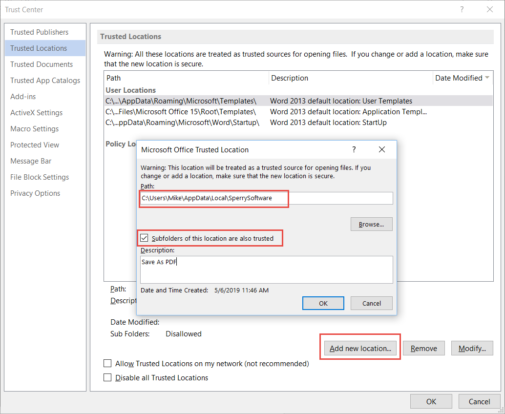 How to add a folder to Microsoft Word Trusted Locations