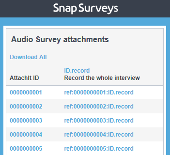 audio survey attachments