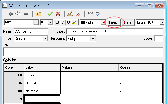 Derived variable with insert button highlighted