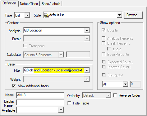 RD: base labels tab with report include area highlighted