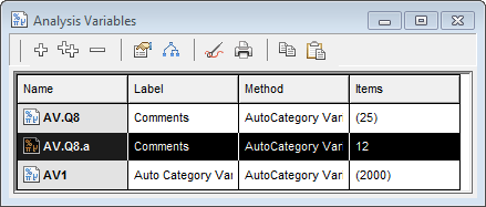 Analysis variables window showing automatic coding variable