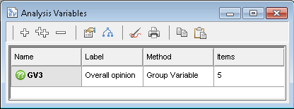 Analysis variables window showing one group variable