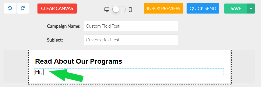 How do I create and add custom fields to an email campaign