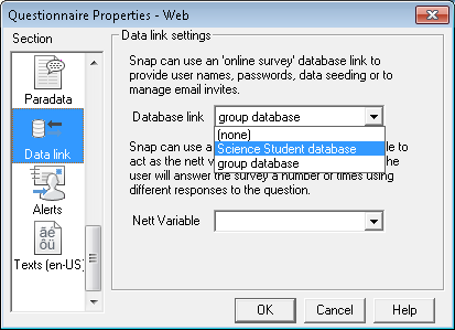 Questionnaire properties dialog showing selecting a database link