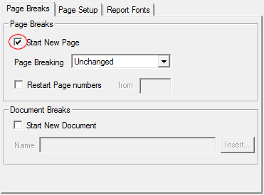 Printer layout dialog with start new document highlighted
