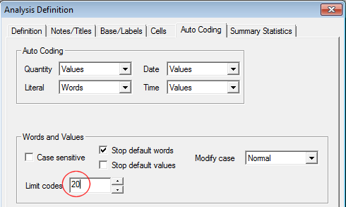 Auto coding tab on results definition dialog