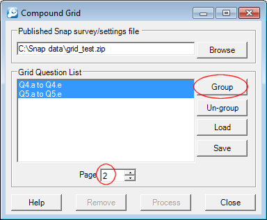 Grouping the grid questions in compound grid