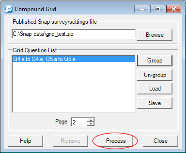 Compound grid process button