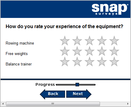 Second page of fitness suite survey