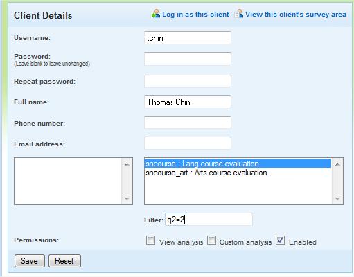 Client Details - create filter