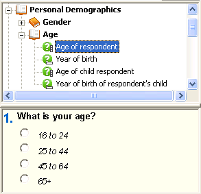 10: Selecting Age of Respondent in SurveyPak