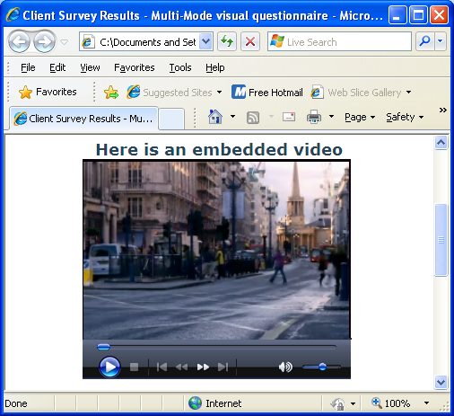 Preview of  inserted wmv video in IE