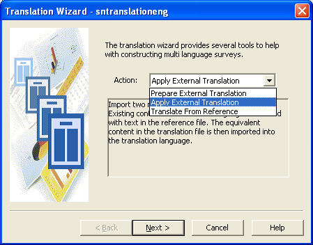 Translation wizard first page drop-down