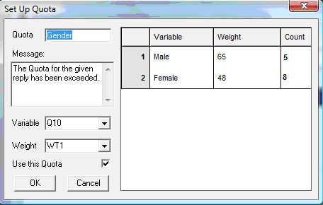 Qeights dialog showing a weight on gender