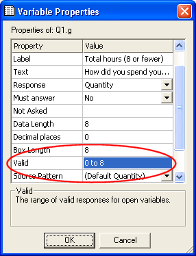 VP: variable properties showing valid set to 0 to 8