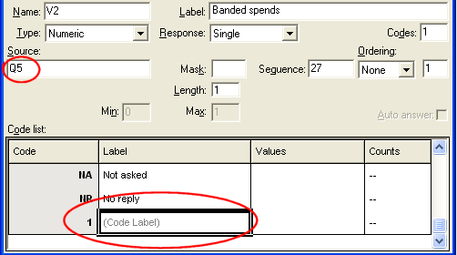 Variable Details - click Code Label field