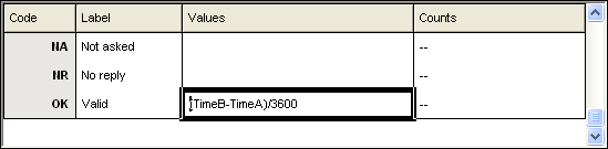 Time formula showing second conversion