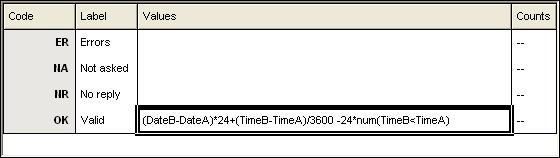 Variable details howing full time formula