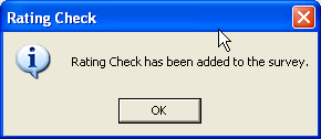 Rating Check confirmation dialog