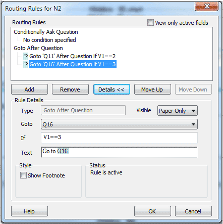n2 routing dialog with two questions