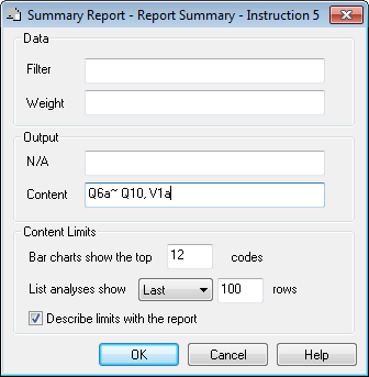 Default reports in reports dialog