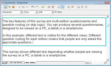 Question toolbar Show All box cleared and highlighted