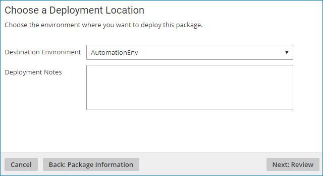 Choose a deployment location dialog.