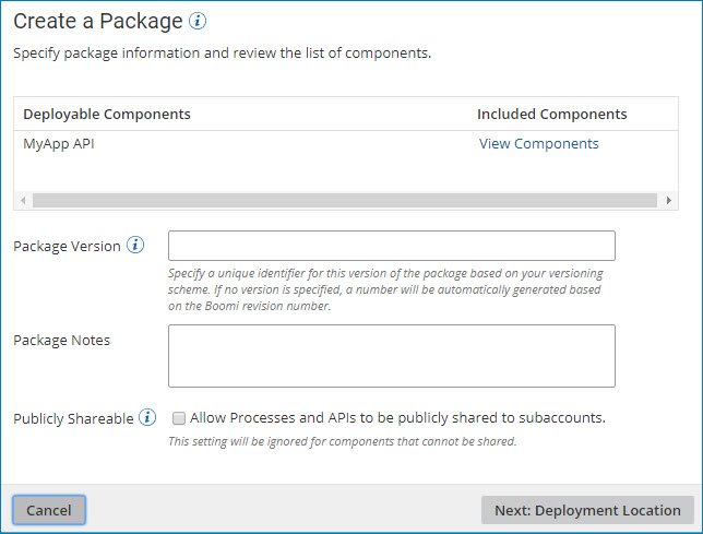 Create a package dialog.