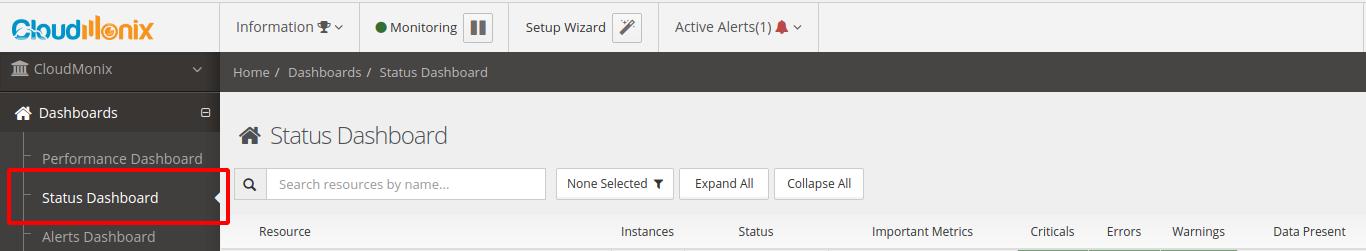 Status dashboard