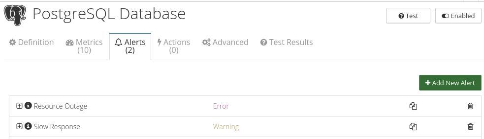 CloudMonix alerts for PostgreSQL Database