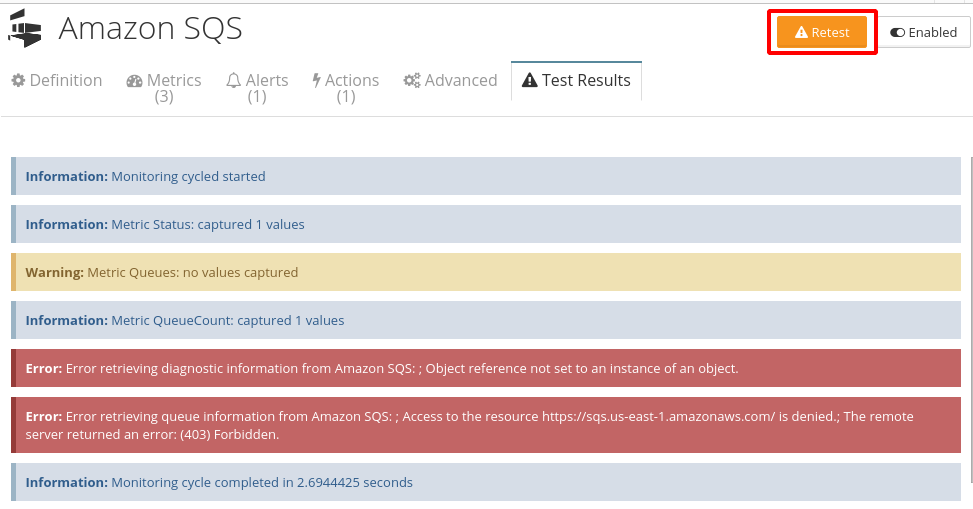 Monitoring setup test results