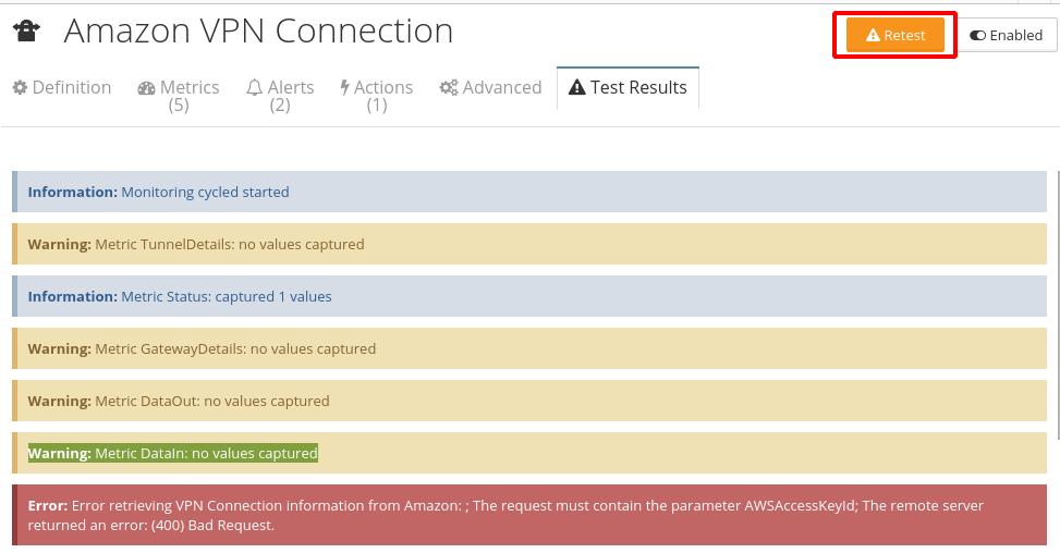 Monitoring setup test results