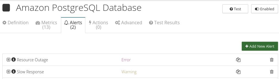 CloudMonix alerts for Amazon PostgreSQL Database