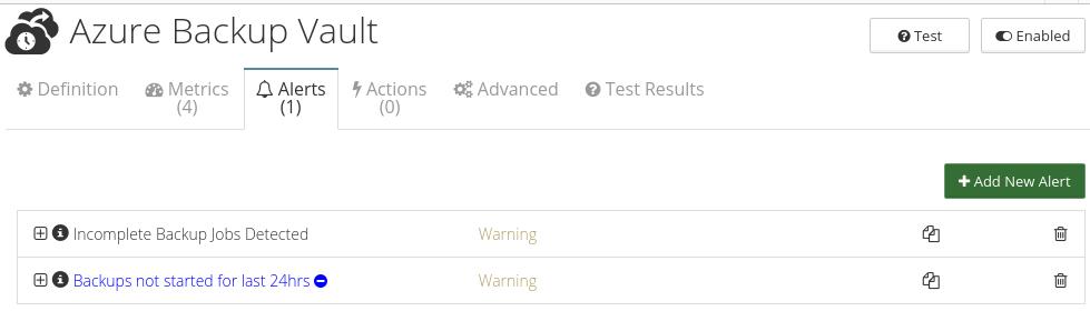 CloudMonix alerts for Azure Backup Vault