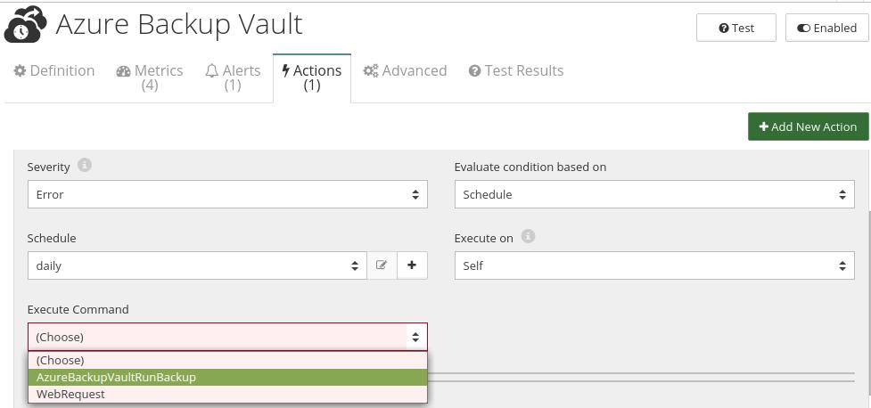 CloudMonix Azure Backup Vault actions
