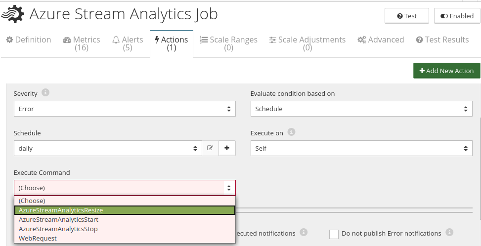 CloudMonix Azure Stream Analytics actions