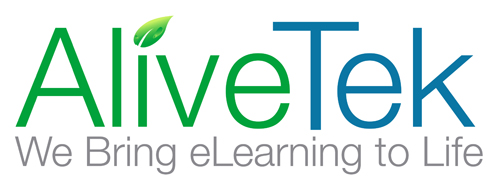 "AliveTek logo with the tagline ""We bring eLearning to life""."