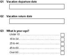 Vacation dep / return dates   Age