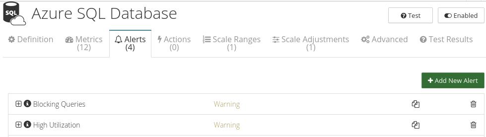 CloudMonix alerts for Azure SQL Database